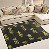 ALAZA Area Rug 53x4Summer Tropical Fruit Gold Pineapple On Black Background, Non-Slip Polyester Floor Mat Carpet for Living Dining Bed Room