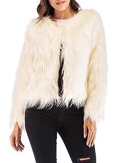 fd274b1e87e Anself Women's Shaggy Faux Fur Coat Solid Color Long Sleeve Short Jacket
