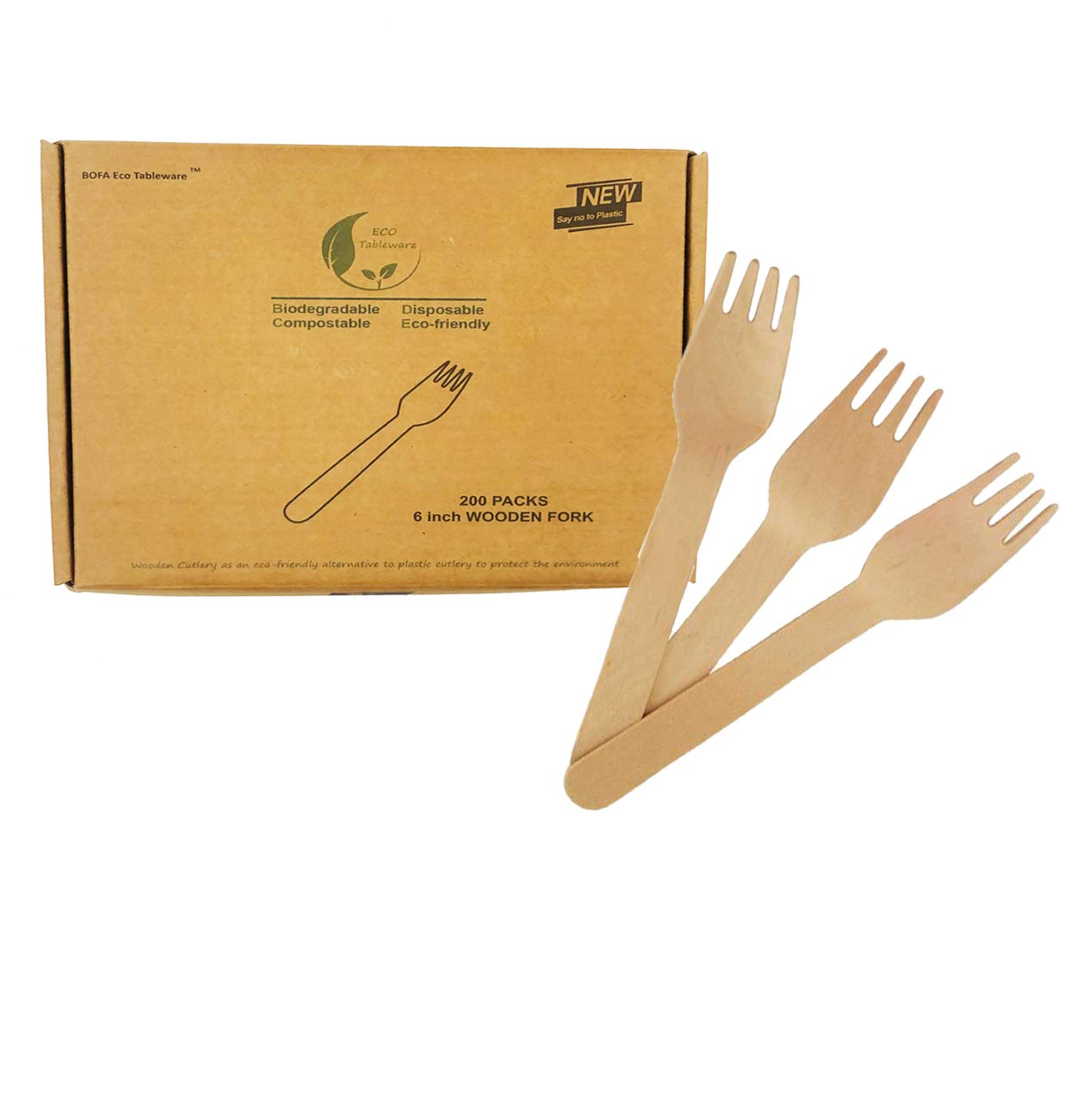 100/% Biodegradbale Eco-Friendly Utensils Fork 200 Count for Party Meeting Camping Zerowaste Natural Wooden Forks Disposable Compostable Utensil