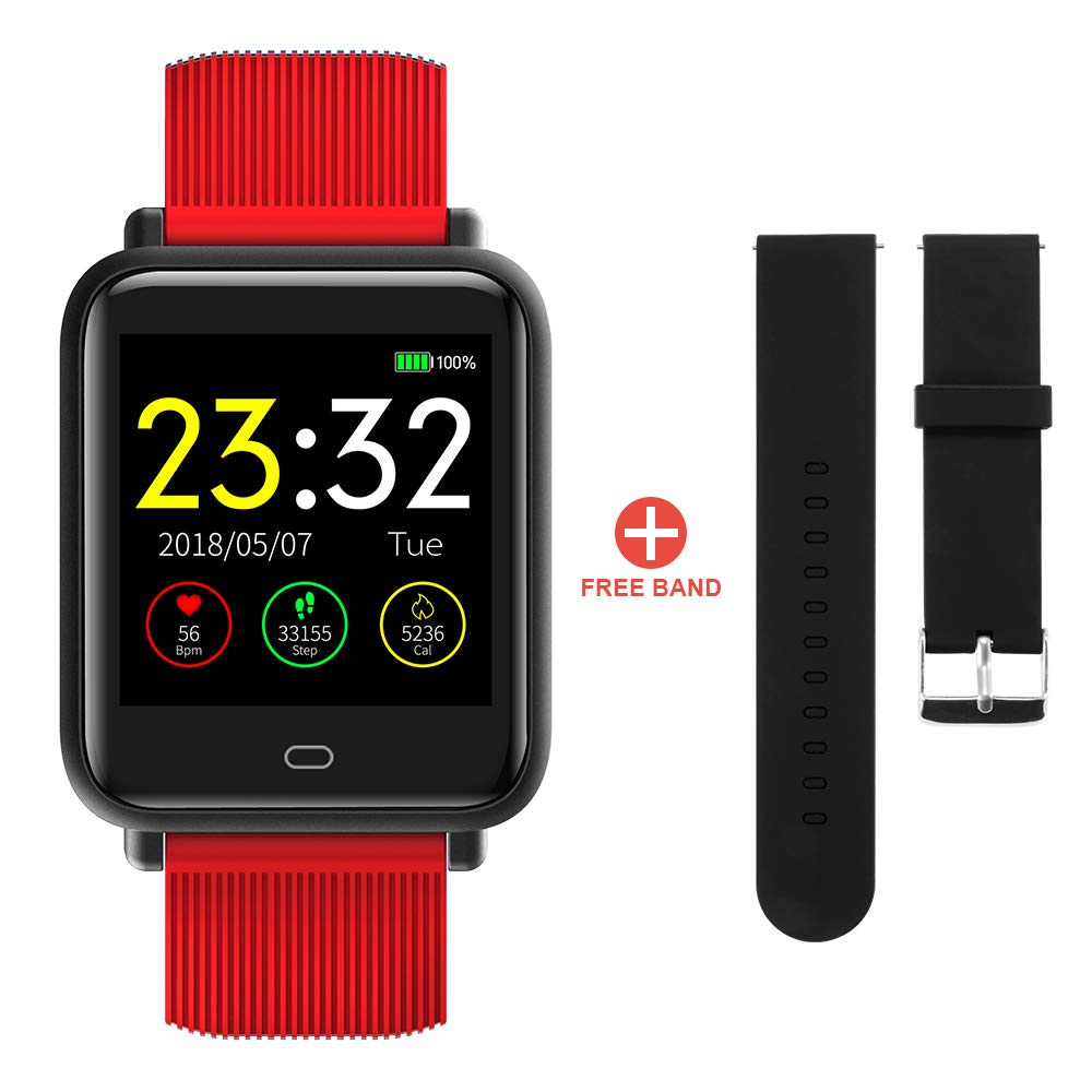 XCSOURCE Q9 Bluetooth Smartwatch Fitness Tracker Sports Bracelet IP67 Waterproof Heart Rate Blood Pressure Monitor Pedometer SMS Call Notification Remote Camera Red for Android iOS Red AC1677