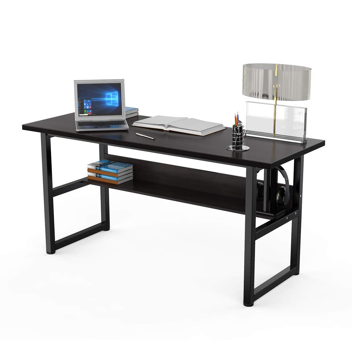 "Computer Desk Office Desk with Bookshelf 63"" Gaming Desk Workstation PC Laptop Study Writing Table for Home Office(63'' Black Walnut)"