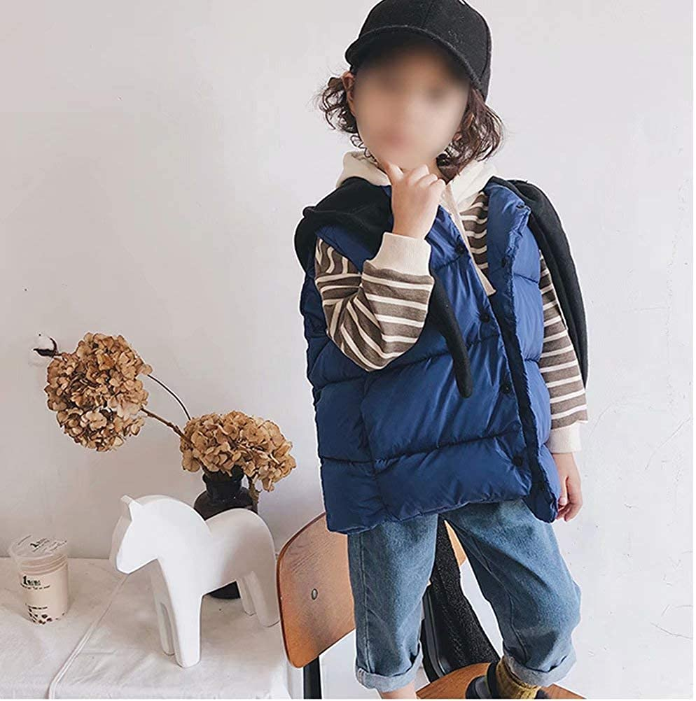 Winter Hooded Puffer Vest Sleeveless Warm Jacket YAGATA Baby Boys Girls Thicken Coat