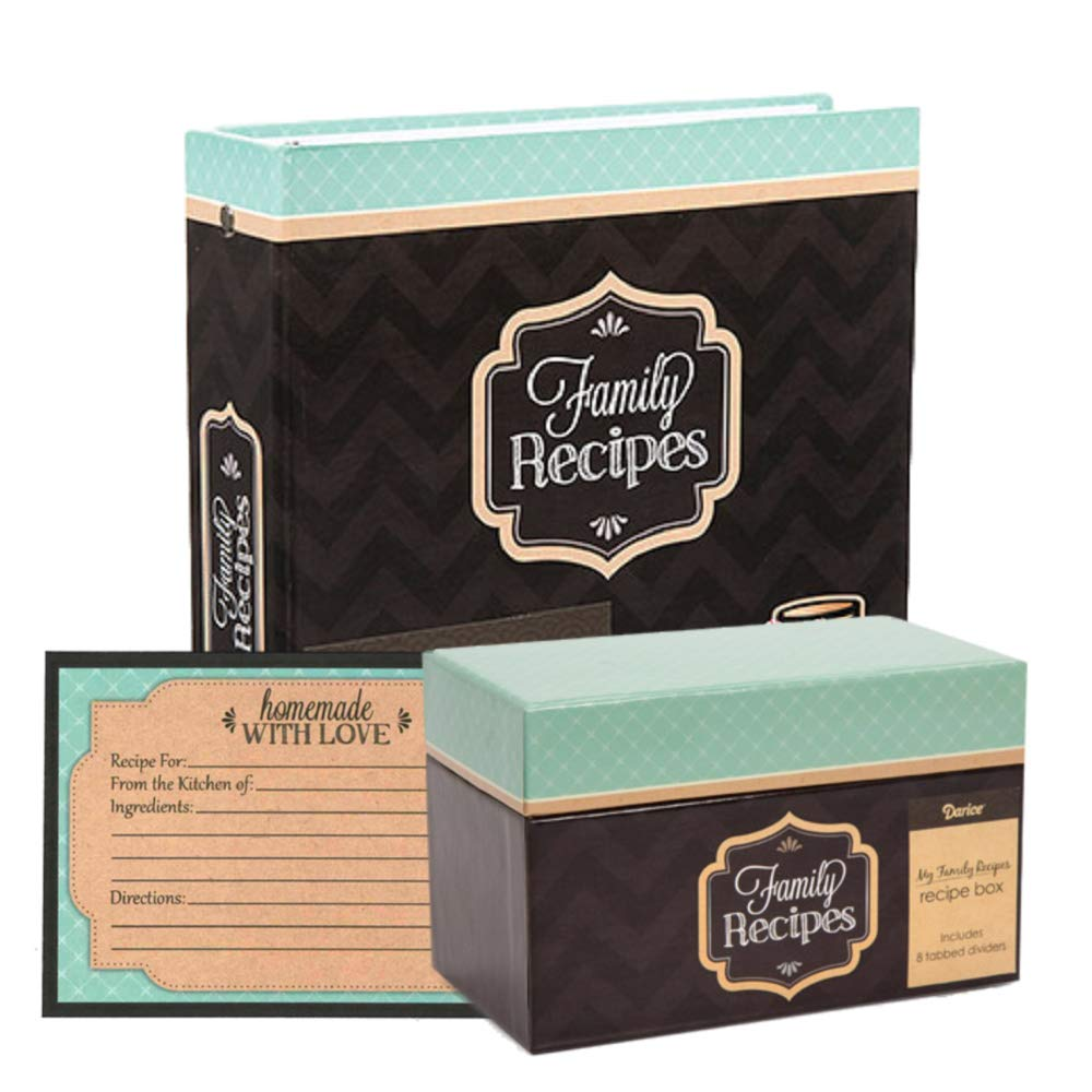 Family Recipe Binder Set with Recipe Card Box and Recipe Cards, 9.75 Inches by 8.5 Inches, Bundle of 3 (Teal & Kraft) by My Family Recipes