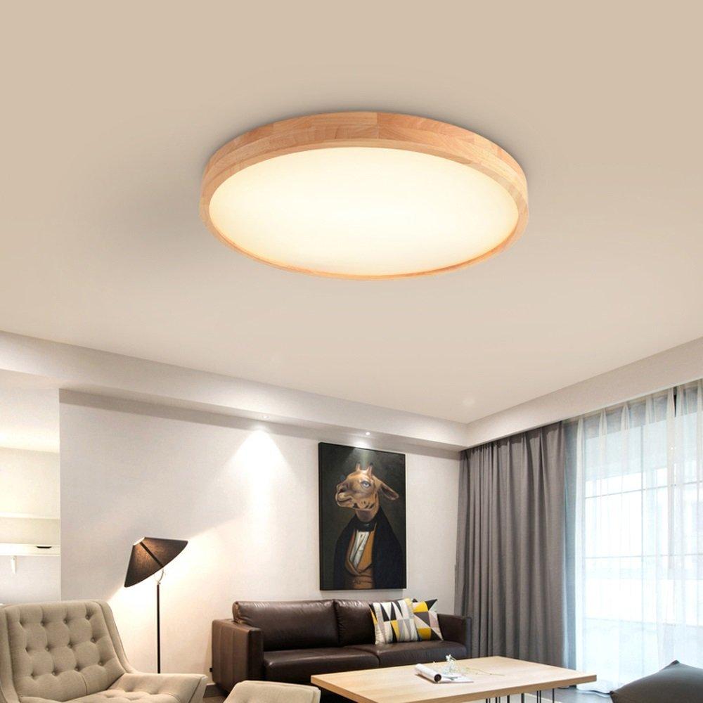 X5X5X Deckenlampe Schlafzimmer Licht Runden DeckenleuchteWohnzimmer Hölzern DeckenleuchteWohnzimmer Runden Massivholz nordisch Stil Kunst Kreativ LED Eiche Deckenleuchte (Größe   50CM 36W) cc685e