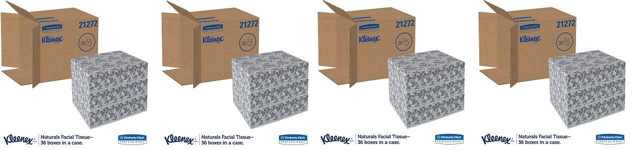 Kleenex 21272 Naturals Facial Tissue, 2-Ply, White, 95 Per Box (4 CASES)