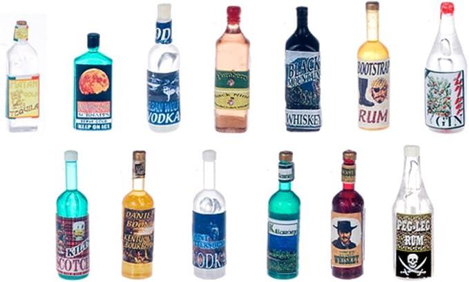 Miniature Single Liquor Bottle For the DOLLHOUSE Bar #1 1:12 Scale Miniatures