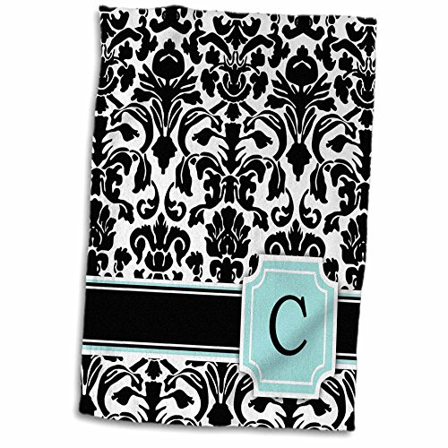 3D Rose Letter C Monogrammed Mint Blue Black and White Damask Pattern-Classy Personalized Initial Towel 15