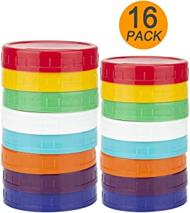 Upgrated 16 Pack Plastic Mason Jar Lids - Colored Mason Jar Caps 100% Compatible with Ball Kerr Wide & Regular Mason Jars (8 Wide + 8 Regular Mouth) - by WISH