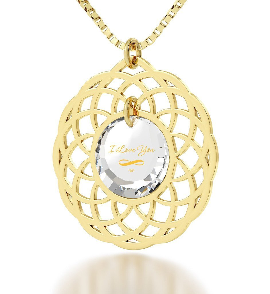 Gold Plated Mandala I Love You Infinty Pendant Necklace 24k Gold Inscribed on Clear Cubic Zirconia, 18''