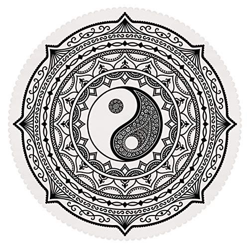 iPrint Round Tablecloth [ Ying Yang,Circle Mandala Pattern with Yin Yang Sign Made with Paisley Motif Karma Cosmos,Black White ] Home Accessories Set -