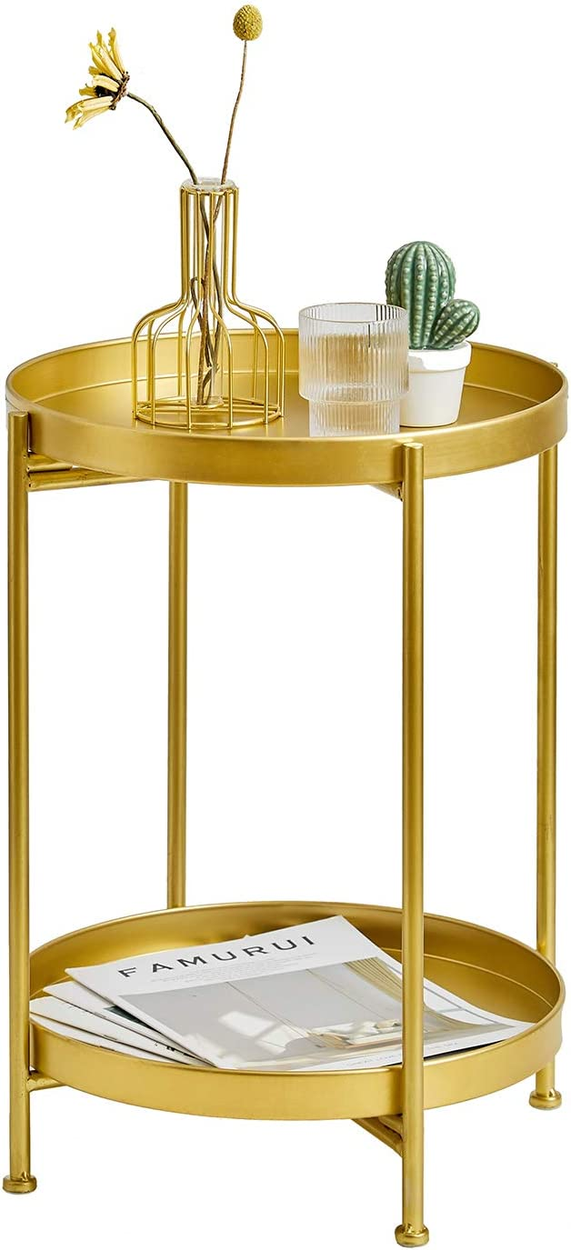 """HuiDao Tray Metal End Table Foldable 2 Tier Round Coffee Table Side Table for Couch Bench Sofa Bed Living Room Bedroom Office Small Spaces, 20"""" H x 14"""" D (Gold)"""