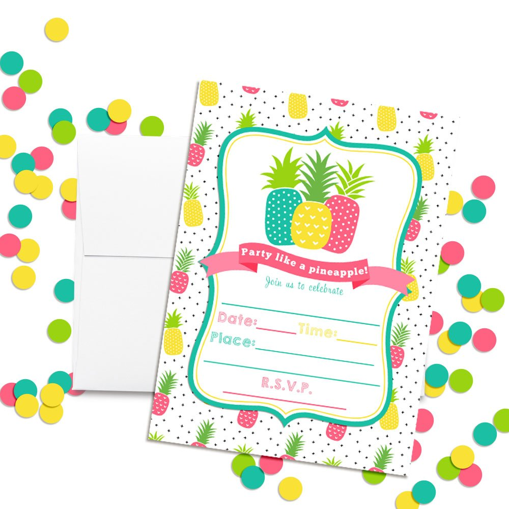 20 5x7 Fill in Cards with Twenty White Envelopes by AmandaCreation 20 5x7 Fill in Cards with Twenty White Envelopes by AmandaCreation Amanda Creation Party Like a Pineapple Birthday Party Invitations