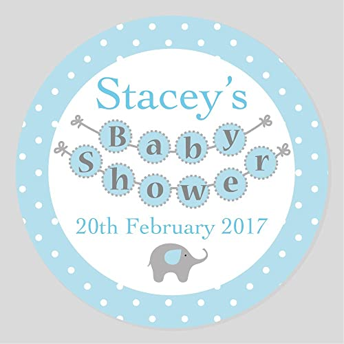 16 50mm personalised baby shower blue elephant theme keepsake party stickers