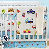 4 in 1 Crib Bedroom Set Brandream Cars Vehicles Crib Bedding for Boys Baby Cotton Nursery Bedding, Blue & White, 4 Pieces