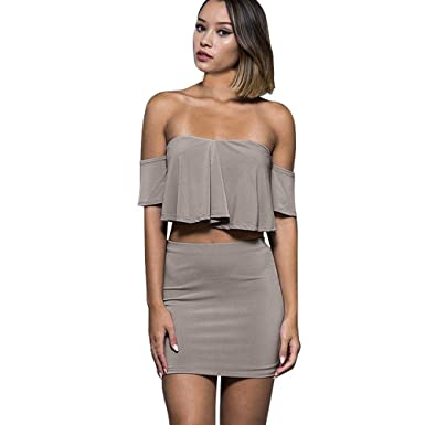 db9e4534eb Oasisocean Women's Sexy Off Shoulder Ruffle Bodycon Crop Top Pencil Skirt  Dress Cut Out Two-Piece Set at Amazon Women's Clothing store: