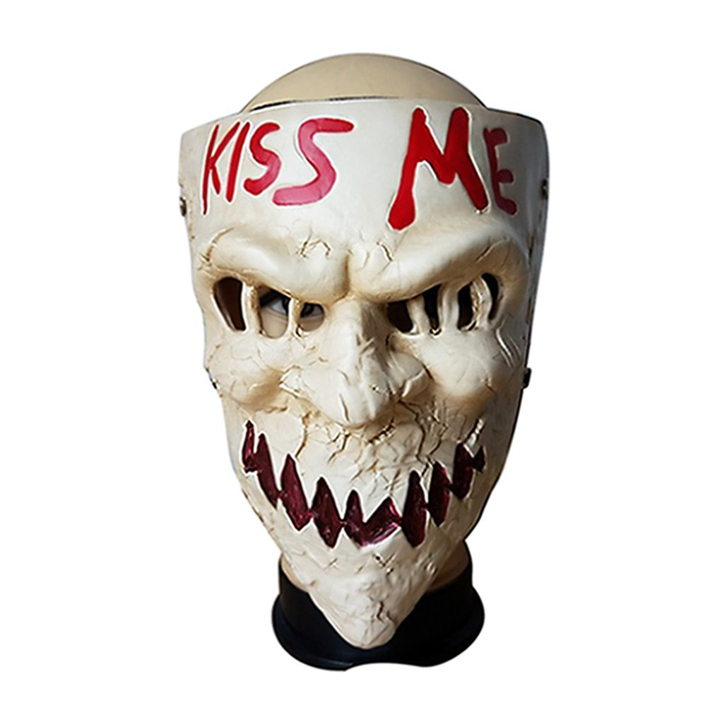 Purge Scary Sugar Masks Kiss Me Masque Halloween Cosplay Accessory (Beige)