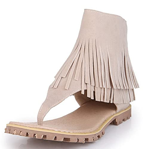 166984e6b2164 IDIFU Women s Fashion Tasseled Zip Up Thong Shoes Flat Ankle High Gladiator Sandals  Beige 4 B