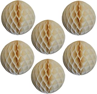 product image for 6-pack 5 Inch Ivory Honeycomb Tissue Paper Balls