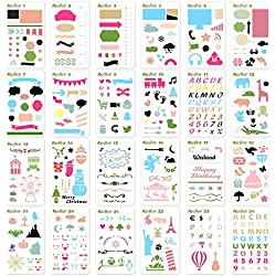 KEDIOR 24 PCS Bullet Journal Stencils Plastic Planner Supplies Journal/Notebook/Diary/Scrapbook DIY Drawing Stencil Template 4x7 inch