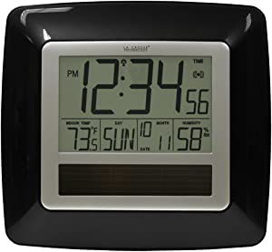La Crosse Technology WT-8112U-BK Solar Atomic Digital Clock with Indoor Temperature, Humidity
