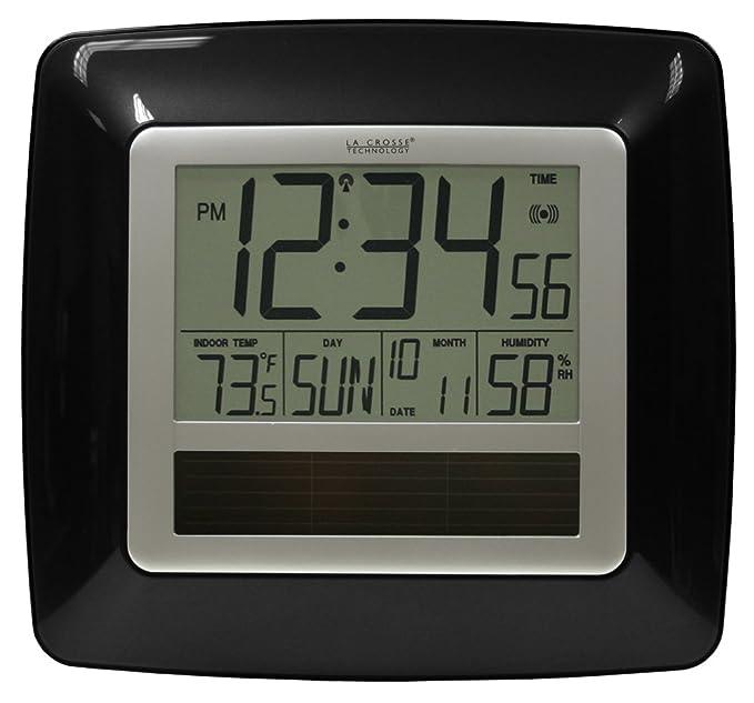 La Crosse Technology WT-8112U-BK Solar Atomic Digital Clock ...
