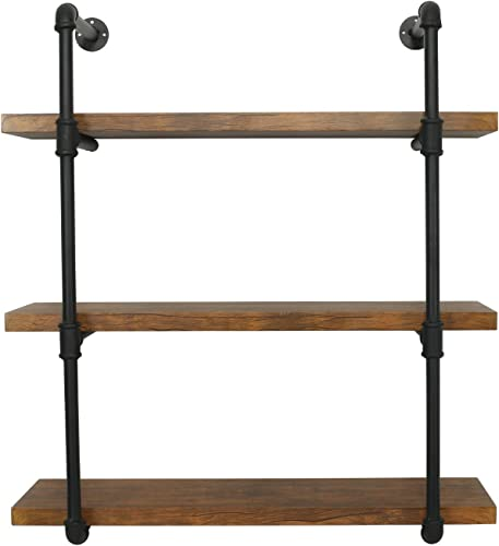 eclife Floating Shelves Bookcases 3 Tier Wall Mounted Rustic Pipe Shelving Unit Vintage Industrial Pipe Wall Shelf, Retro Brown 3 Tier HM-PS02