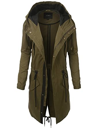 LE3NO Womens Lightweight Oversized Military Parka Jacket with