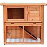 Olymstore Natural Wood Color Waterproof Chicken Coop Rabbit Hutch Wood House Pet Cage for Small Animals Spacious Inner Room,Lockable Doors Durable Wooden in Use