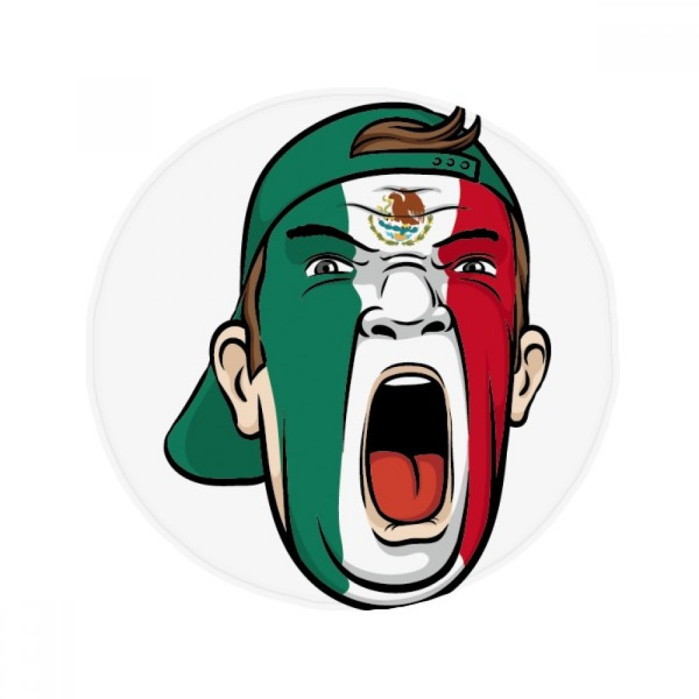 60X60cm DIYthinker Mexico Flag Facial Makeup Mask Screaming Cap Anti-Slip Floor Pet Mat Round Bathroom Living Room Kitchen Door 60 50Cm Gift