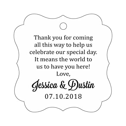 Darling Souvenir Custom Wedding Thank You Message Gift Tags Personalized Party Favor Hang Paper Tags-Floral White-50 Tags