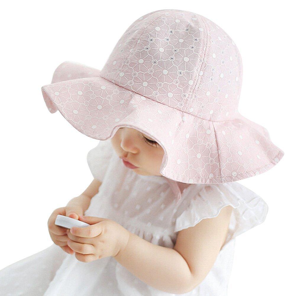 Balai Bonnets chapeau de soleil /à larges bords chapeau de plage avec l/'impression des fleurs blanc rose chapeau de seau b/éb/é filles 1-4ans