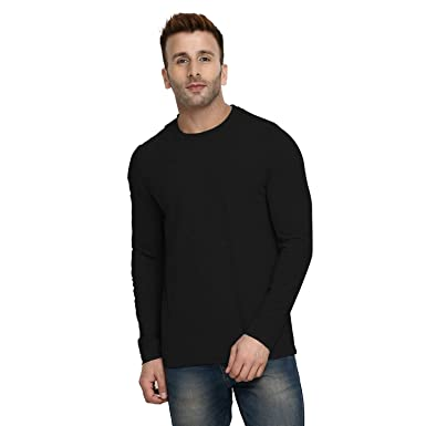 0019caf71 CHKOKKO Full Sleeve Cotton Casual Round Neck T Shirts for Men Anthra Size  Small