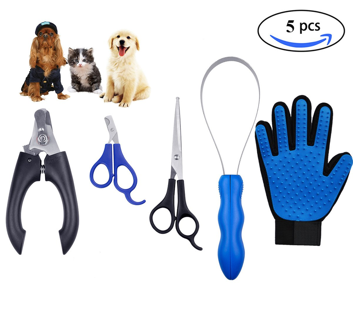 ShuyNature Coupe Ongle Chien Chat Lapin Professionnel, Brosse Poils Animaux, Ciseaux Toilettage Chien, Coupe Griffes Chat, Kit de Toilettage 5pcs SHUY Nature