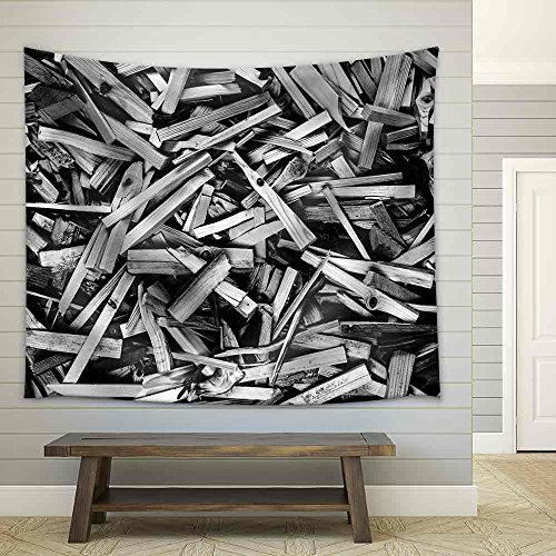Sticks N More Sticks Black and White Panorama Background Texture Fabric Wall Tapestry