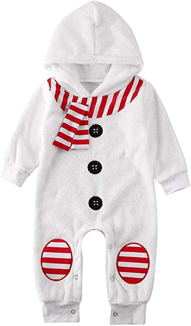 DUBASAM Infant Baby Boy Girl My 1st Christmas Romper Jumpsuit Long Sleeve Hoodies Xmas One-Piece Bodysuit Playsuit Outfits