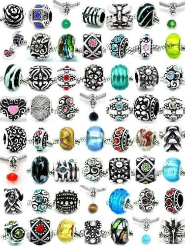 Pro Jewelry Assorted Pack of Silver Charms, Crystal Beads, Glass Beads and Spacers