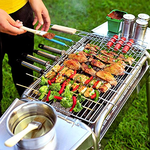 Miady Stainless Steel Foldable Charcoal Barbecue Grill with 20 Pieces BBQ Tool Kits and Carry Bag