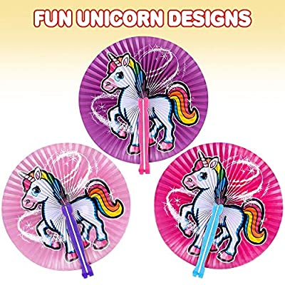 ArtCreativity Unicorn Handheld Folding Fans for Kids - Pack of 12-10 Inch Foldable Fans for Girls, Unicorn Birthday Party Favors and Supplies, Cute Goodie Bag Fillers, Assorted Colors: Toys & Games