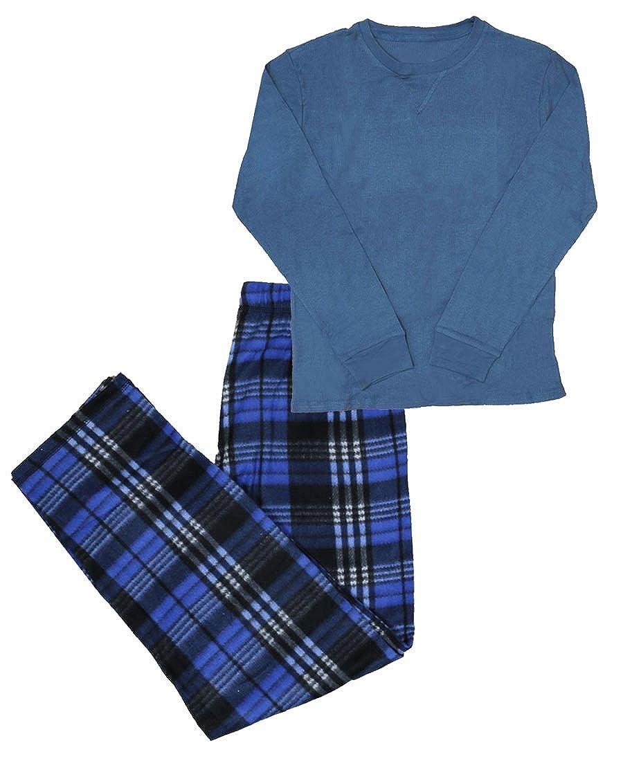 Apparel No. 5 Men's 2-Piece Thermal Plaid Long Sleeve Top & Bottom Pajama Set