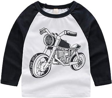 PinkLu ღ Niño Manga Larga Negro Blanco Dibujos Animados Motocicleta Imprimiendo Arriba Primavera Verano Cómodo O-Cuello Niños Ropa: Amazon.es: Ropa y accesorios