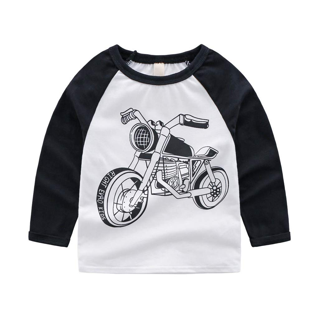 Oldeagle Kid Baby Boy Long Sleeve Cartoon Motorcycle Print Sweatshirt Tops Shirts Children Casual Outfits (12-18M, White)