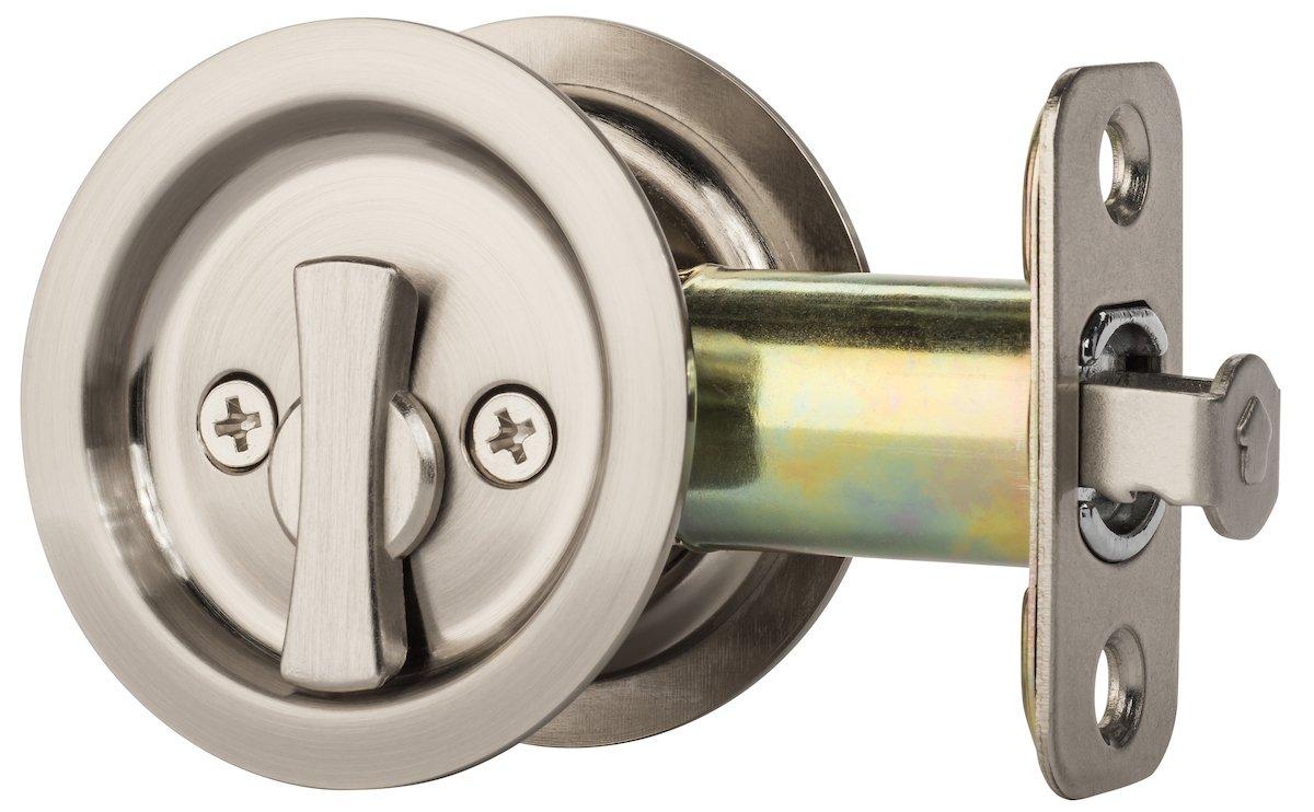 Dynasty Hardware Round Bed / Bath Privacy Pocket Door Latch Satin Nickel