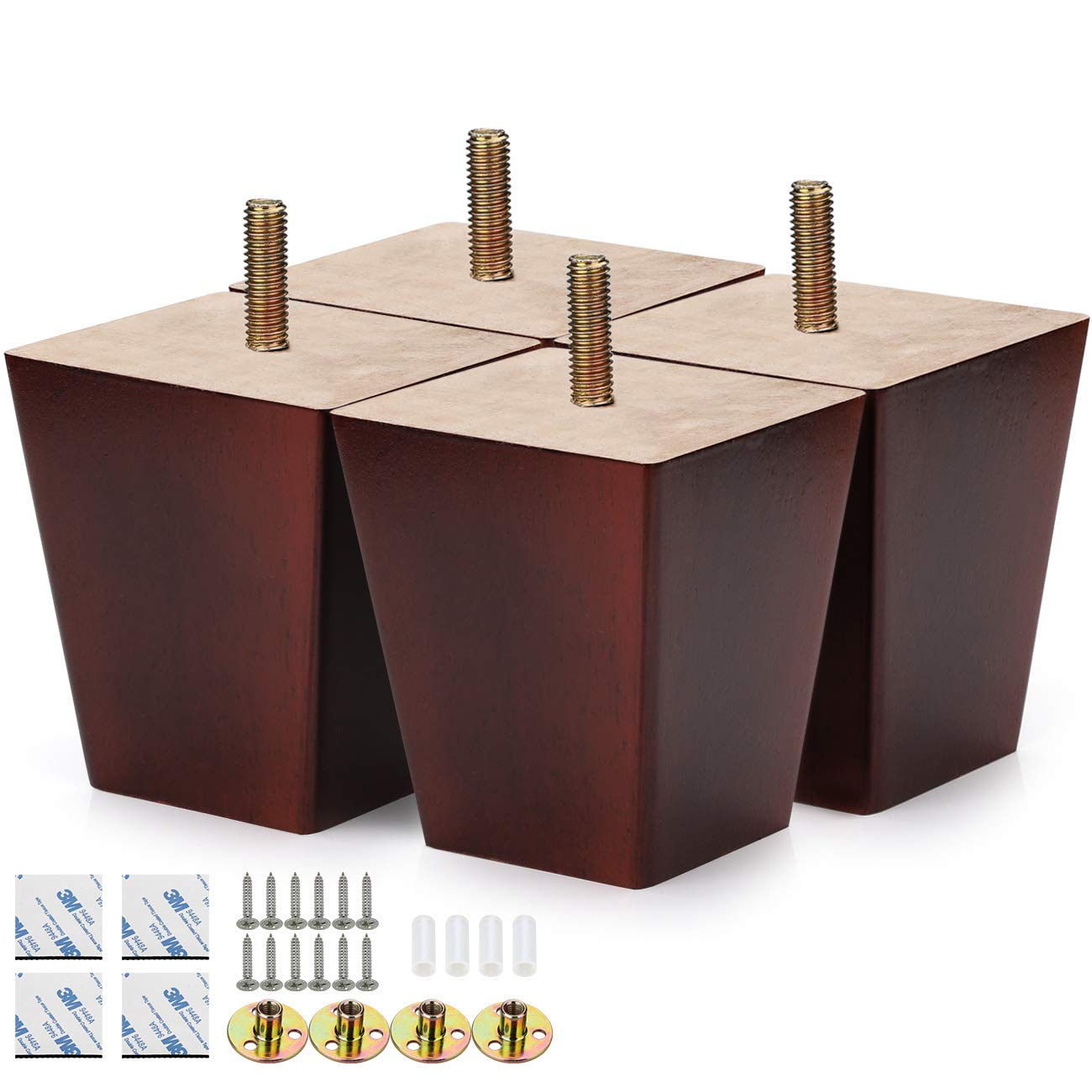 "Alasdo Set of 4 Furniture Legs, 3"" Square Rubber Wood Legs for Furniture Tapered Coffee Finished Wood Legs for Sofa, Chair, Ottoman, Stool"