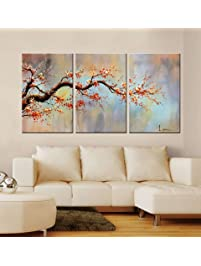 Shop amazon paintings artland modern 100 hand painted flower oil painting on canvas orange plum blossom 3 solutioingenieria Image collections