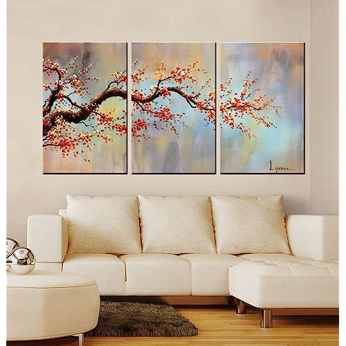 living room wall art creative artland modern 100 hand painted flower oil painting on canvas orange plum blossom 3 living room frames wall decor of chinese amazoncom