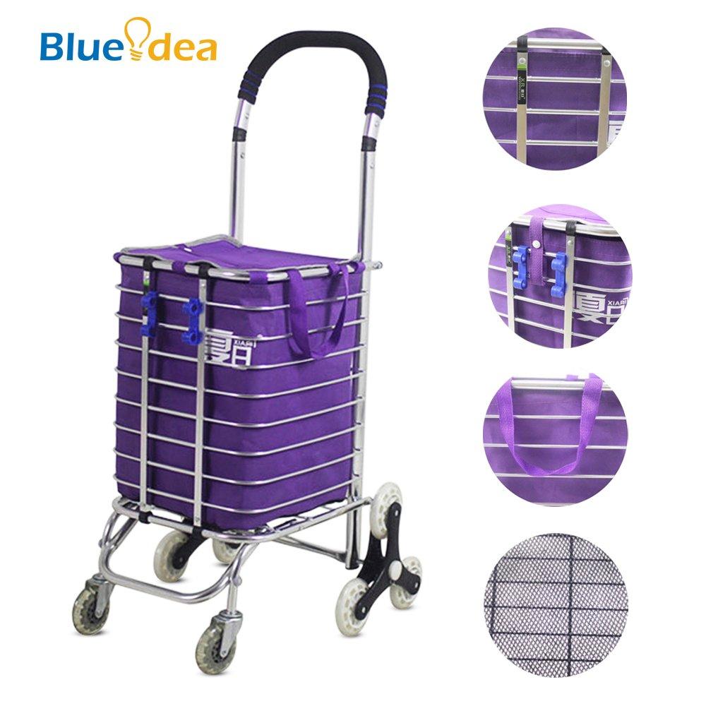 Blueidea® Carro de Compra Portátil Plegable Hogares Carrito de Compra con Aleación de Aluminio & Ocho Reforzada Ruedas & Bolsa de la Compra (Púrpura): ...