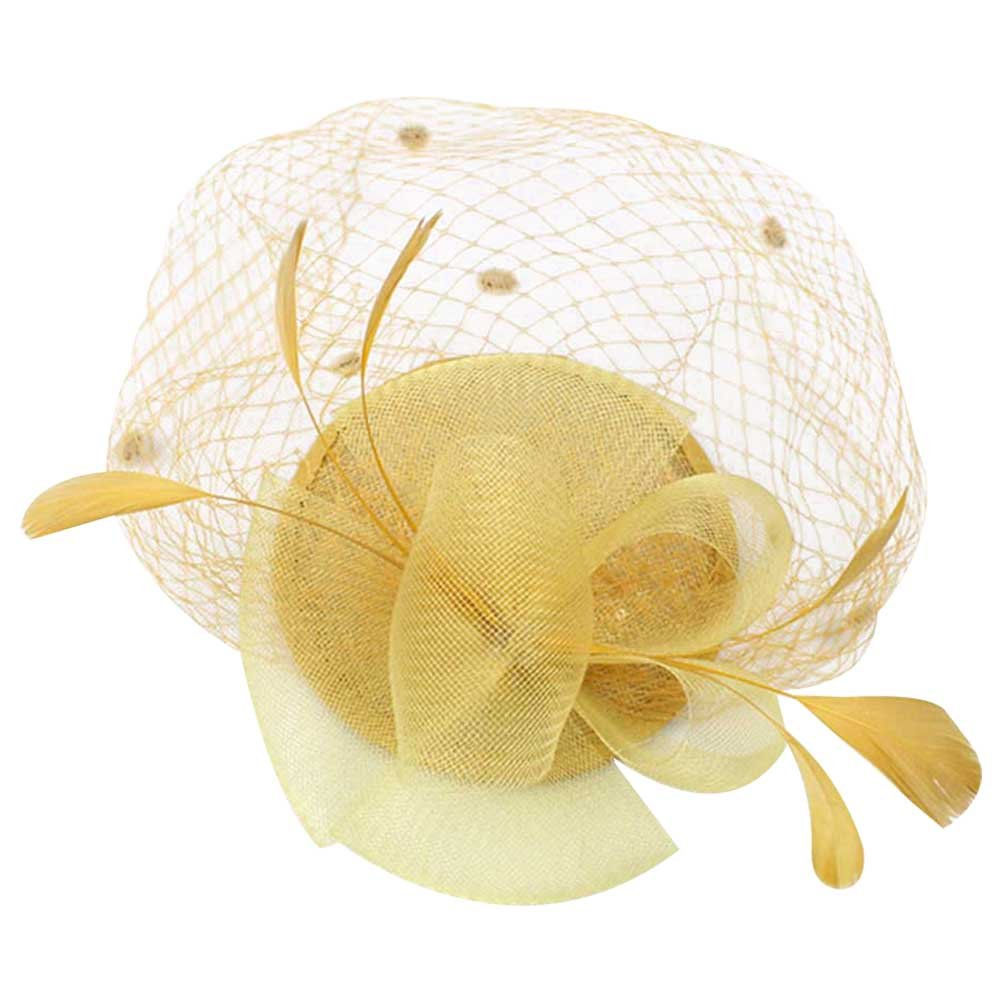 Song Women Party Hair Accessories Flower Feather Net Yarn Fascinator Hairpin Headdress Hair Clip Top Hat (Yellow)