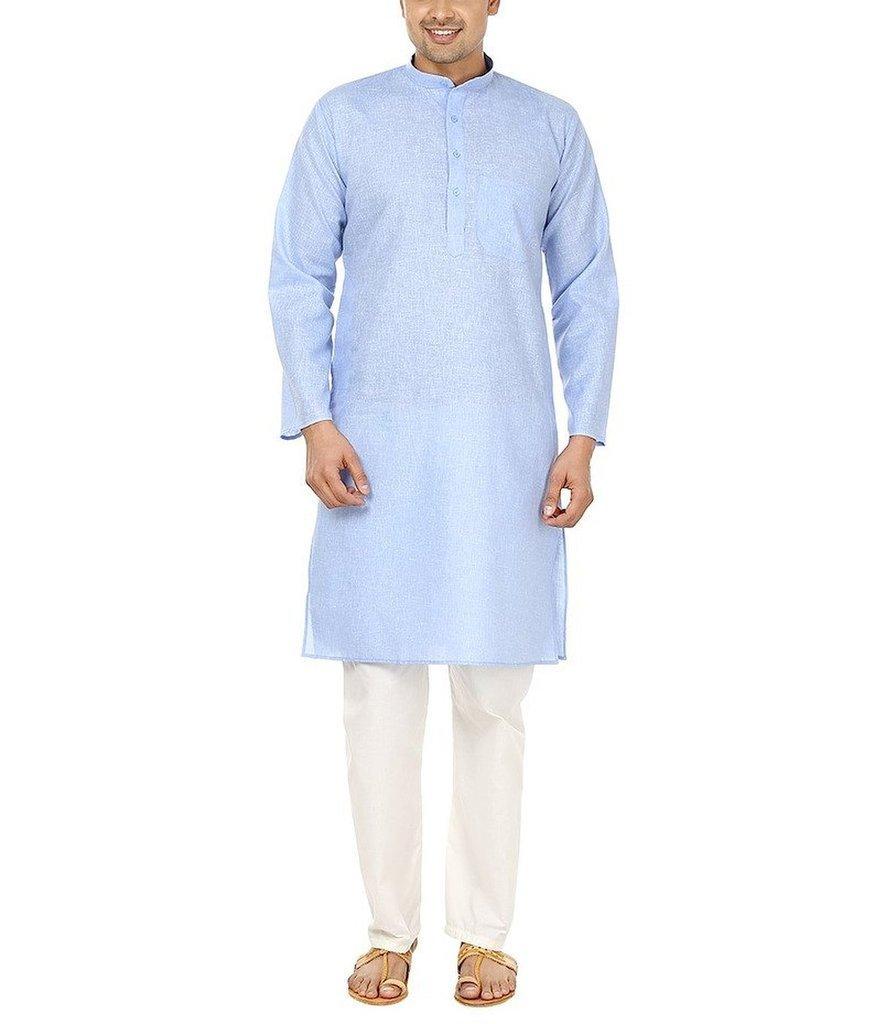 Royal Kurta Men's Fine Cotton Linen Comfort Wear Kurta Pyjama Set 40 Light-blue