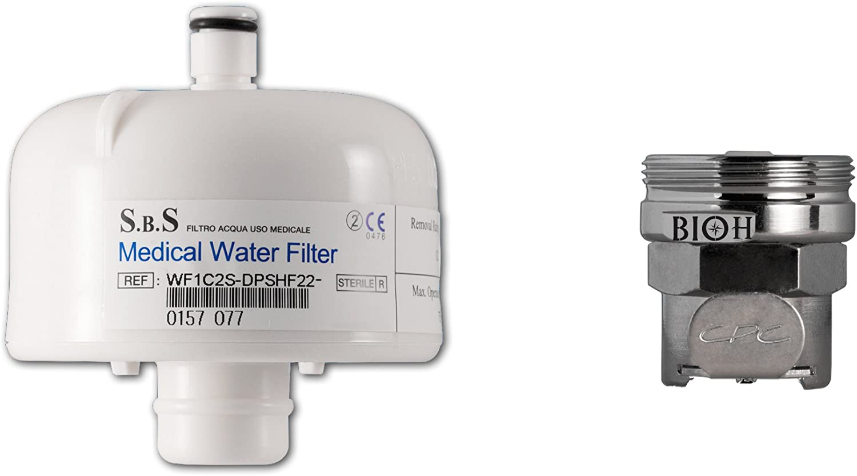 Filtro Terminal anti Legionella con racor para grifo 24 mm Rosca hembra - 0,2 um con una membrana - Duración 62 GG. - Filtro de agua purificador para grifo depurazione - Filtro