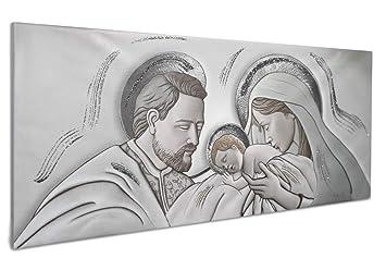 Vetrineinrete® Quadro su tela con sacra famiglia natività per capezzale  quadri sacri per camera da letto con telaio in legno decorato con  brillantini ...